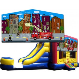 (C) Fire Truck Bounce Slide combo (Wet or Dry)