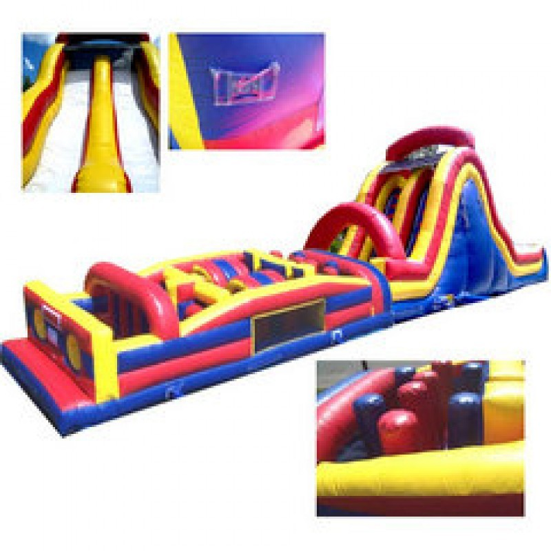 (B) 69ft Dry Obstacle Course w/18ft dual lane slide
