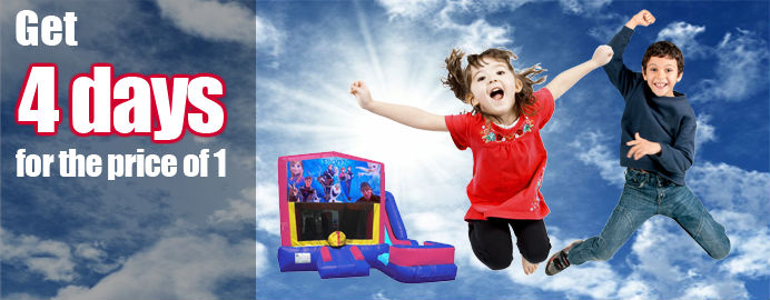 pick up an save get 4 days bounce house for price of 1 day